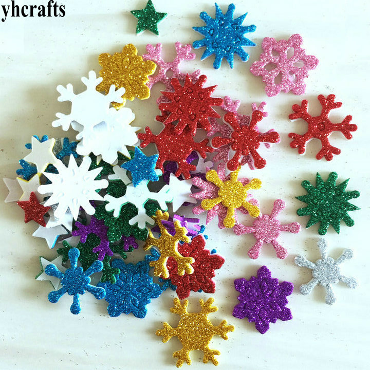 50PCS/LOT.Mix color glitter snowflake foam stickers Xmas crafts Activity items Kids room decoration Decorative christmas diy toy цена