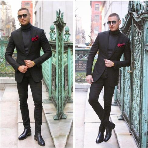 2019 Classic Black Mens Suit Customized Slim Fitted Wedding Groom Tuxedos Formal Groom Formal Business Suit Costume Homme 2 Pcs