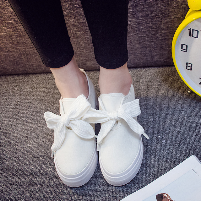 2017 women height increasing canvas shoes lace up fashion casual shoes students white shoes lady plus size shoes black