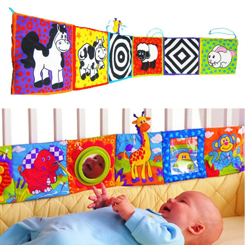 MengBear Baby Rattles Toys Baby Crib Bed Bumper Cloth Book Infant Crib Toy Rattle Mobiles Multi-Touch Colorful Bed Bumper Toys