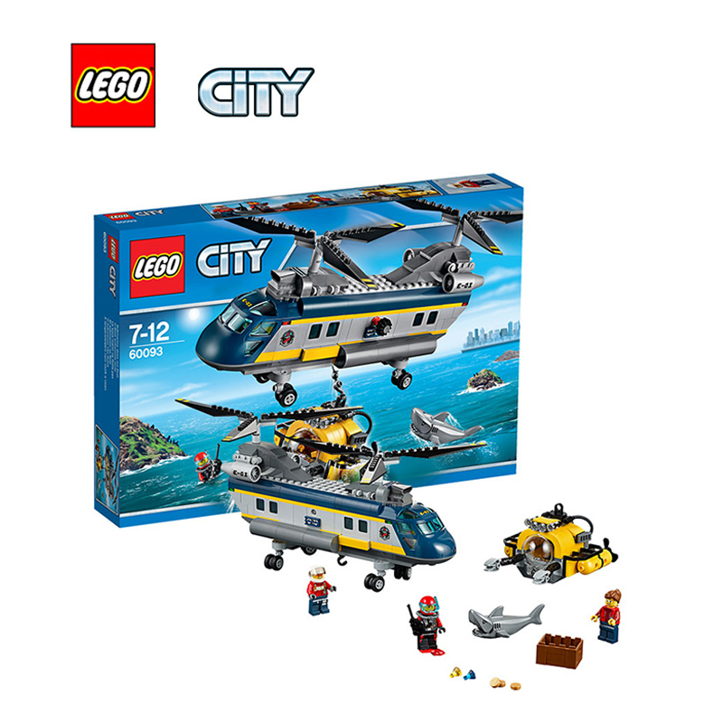LEGO City Deep Sea Helicopter Architecture Building Blocks Model Kit Plate Educational Toys For Children LEGC60093 774pcs city deep sea explorers 02012 model exploration vessel building blocks bricks children toys ship kit compatible with lego