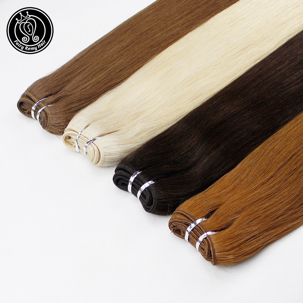 Fairy Remy Hair 22 Inch Real European Straight Human Hair Bundles 100g/pc Weft Dark Brown Color Human Remy Hair Weaves