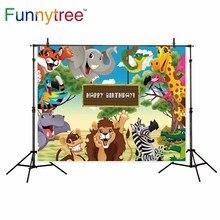 Funnytree backdrop para estúdio fotográfico de aniversário animal dos desenhos animados crianças pastagem árvore profissional fundo photobooth prop