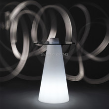 Fashion Modern Plastic illuminated rechargeable LED cocktail coffee linear high bar table with PEAK cone-shaped