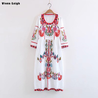 Floral Embroidery Vintage Dress Women Dresses Ethnic Loose Casual Bohemian Dress Elegant Flower Print Boho Long