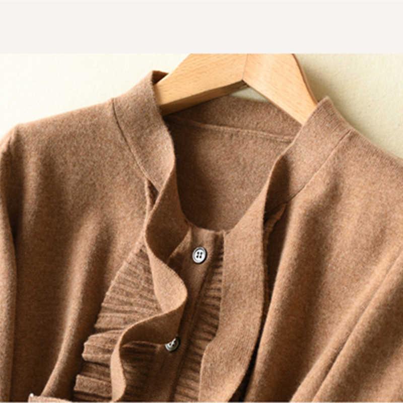18 весна и осень Новый чистый кашемир женский кардиган с v-образным вырезом модный бант деревянный ушной воротник Свободная короткая вязаный свитер