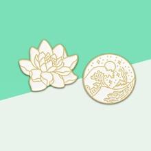 Glamourosa dourado padrão onda de lótus redondo emblema broche onda à beira-mar estrela lua oceano planta esmalte neutro pino chapéu casaco lapela b