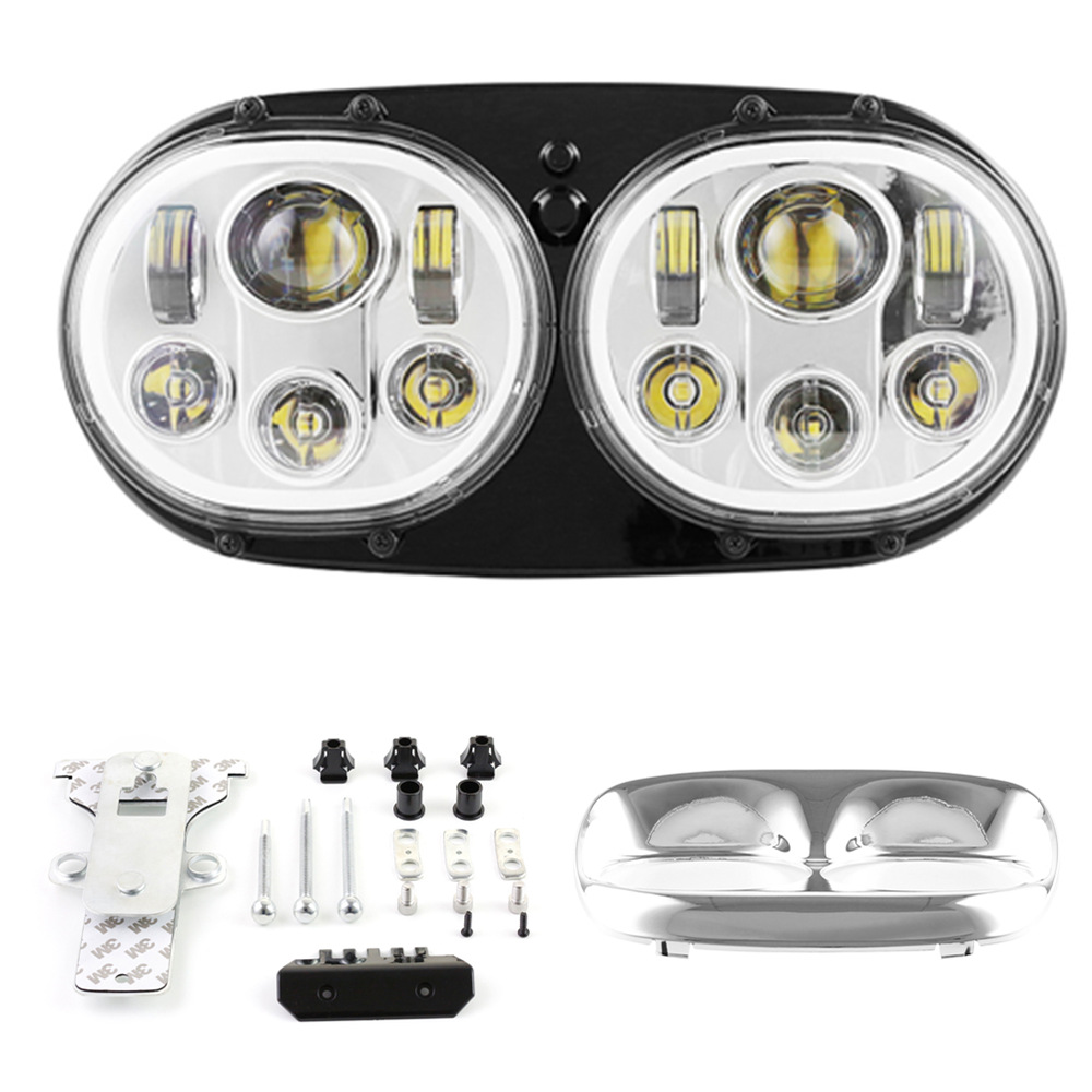 Harley Motorcycle 5.75 inch Dual LED projection daymaker LED Headlight with white DRL For Harley Davidson Road Glide 04 13 years