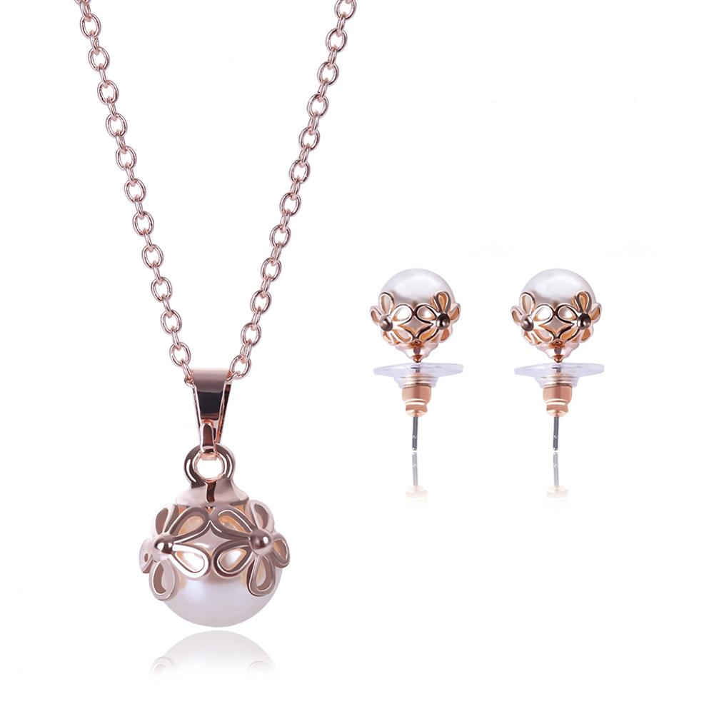 Gold Color Clear Waterdrop Clear Cubic Zirconia Stud Earrings and Pendant Necklace Jewelry Sets for Women serveware