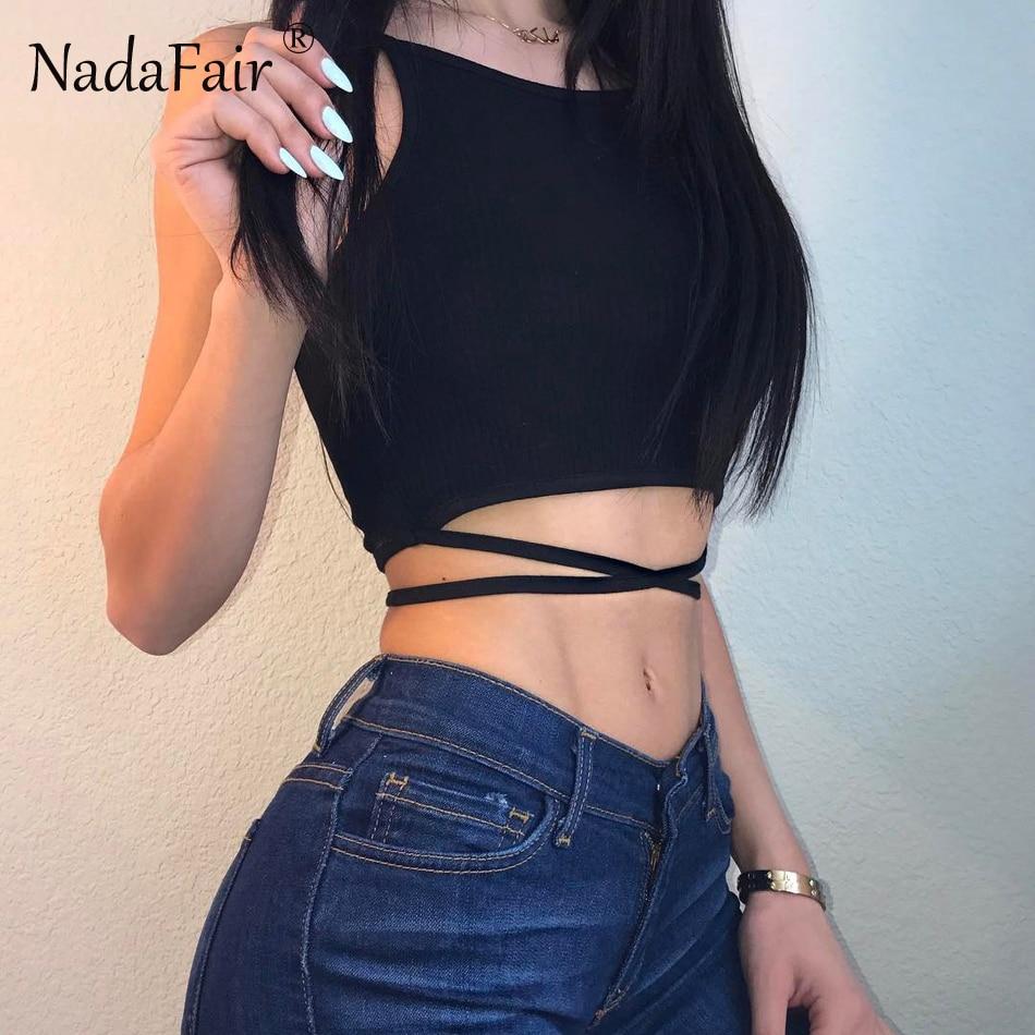 b070202a6d Προϊόν - Nadafair Sleeveless Backless Criss Cross Lace-up Skinny ...