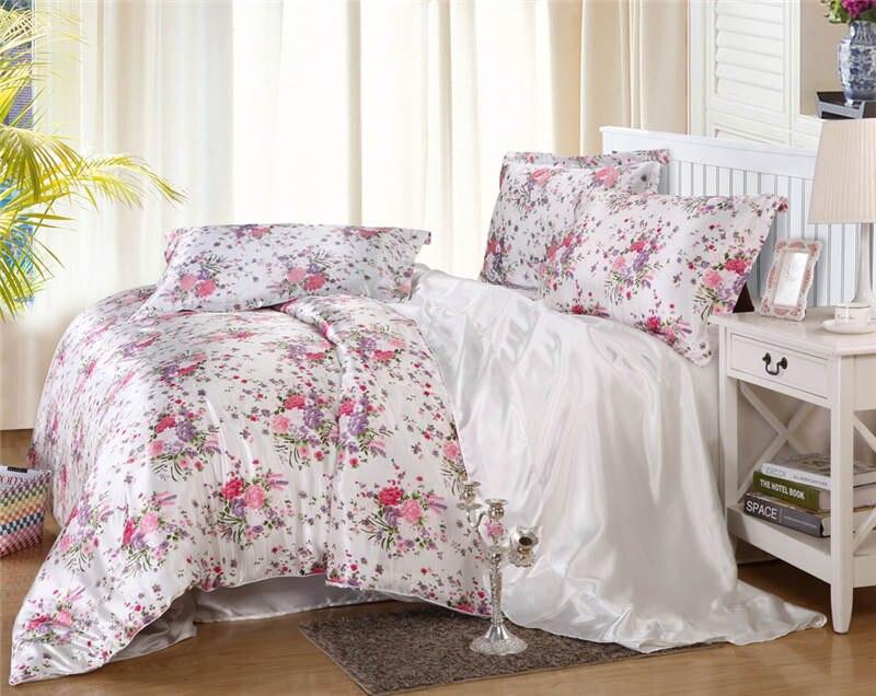 Satén de seda edredón cubre colchas Twin full Queen King Size dormitorio decoración rosa flor púrpura niñas inicio