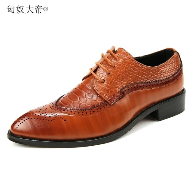 Người đàn ông sang trọng wedding party ăn mặc cá sấu hạt giày da chính hãng in ren lên tuổi teen oxfords giày thoáng khí zapatos điểm