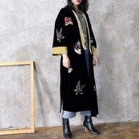 2018 Для женщин пальто мода Вышивка черный Халат уличная корейская мода взлетно посадочной полосы Макси Повседневное долго ветровка Весна Па