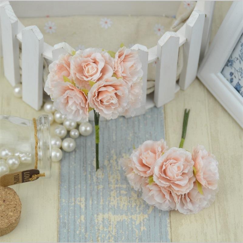 6 pcslot mini soie artificielle rose fleurs bouquet de mariage dcoration papier fleur pour - Bon De Reduction Decoration De Mariage
