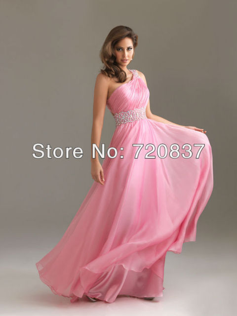 Sexy Baby Pink Color Long Chiffon Evening Dress For Prom Formal