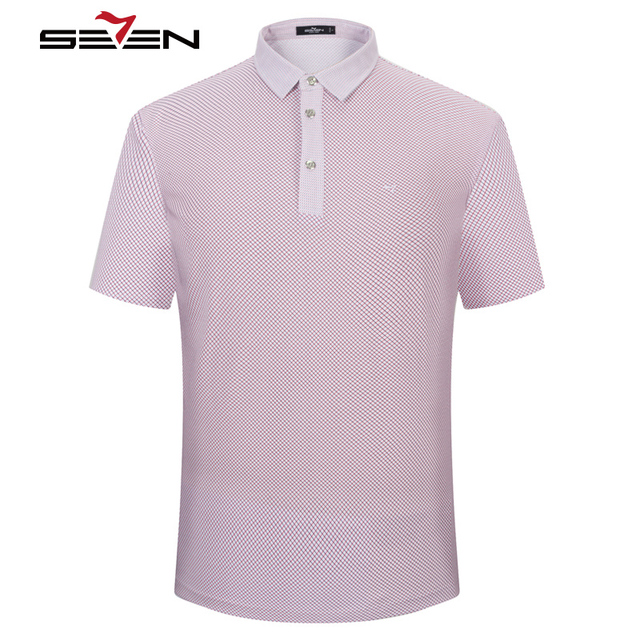 Seven7 Men Slim Fit Polo Shirts Short Sleeve Thin Plaid Pattern Gradient Colorful Polo Shirts Brand Casual Polo Shirts 110T50370