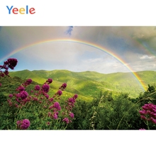 Yeele Landscape Bedhead Rainbow Green Mount Flower Photography Backdrops Personalized Photographic Backgrounds For Photo Studio