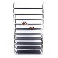 Estante de tela para zapatos con asa, montaje Simple de 10 niveles, no tejido, armario de almacenamiento de zapatos negro, organizador para el hogar, dormitorio, zapatos