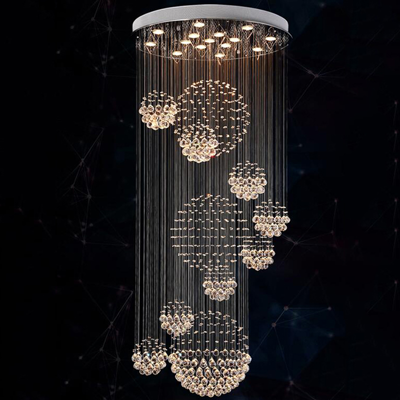 Modern Chandelier Rain Drop Large Crystal Light Fixture with 11 Crystal Sphere Stair Light Fixture with 13 GU10 Bulb