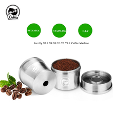 ICafilas for illy Coffee Machine Refillable Filters Stainless Steel Reusable Metal Capsule & Tamper Spoon