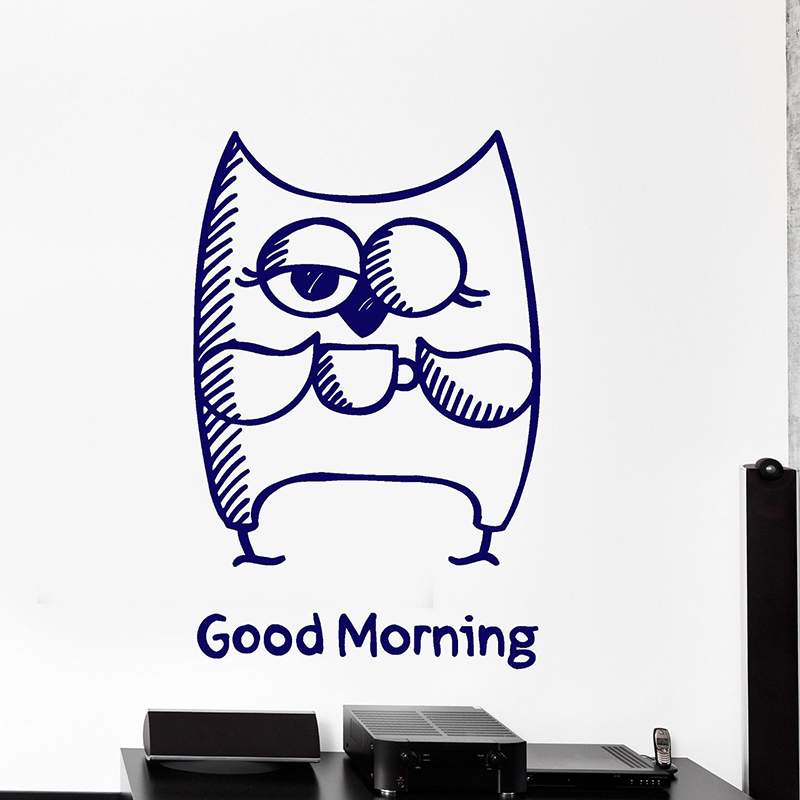 Owl Wall Decals Cute Animals Wall Sticker For Living Room Good Morning Words Cool Decor Removable Home Decoration Wallpaper H119