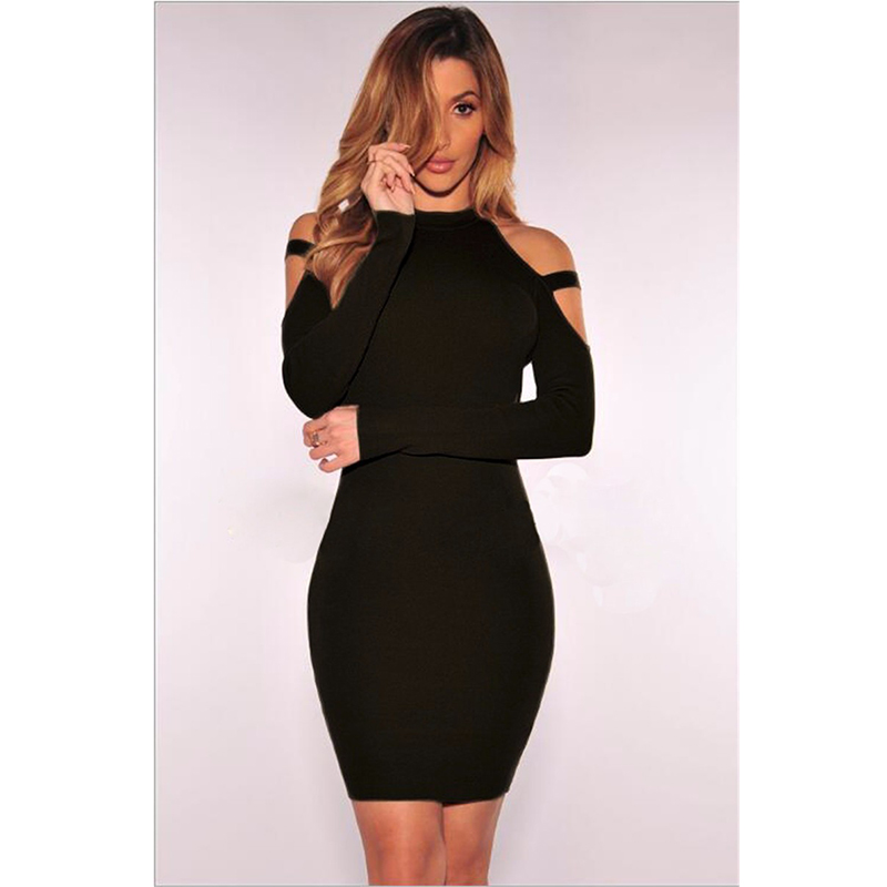 Women Sexy off shoulder Autumn winter Round Neck Long sleeve bandage hollow out party pencil dress black wine red midi dress
