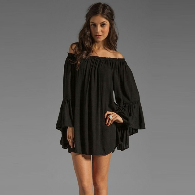 Black long sleeve chiffon dress lotus