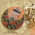 Pintado 7 Teclas Kalimba Sanza Pulgar Dedo Del Piano Instrumentos Musicales Indígenas Africanos Cáscara De Coco Juguete
