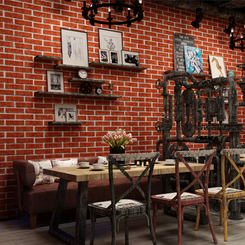 Brick Wallpaper Retro Kitchen Restaurant Self Adhesive Waterproof Wall Sticker Bar Dormitory Clothing Store PVC Wall Papers Roll
