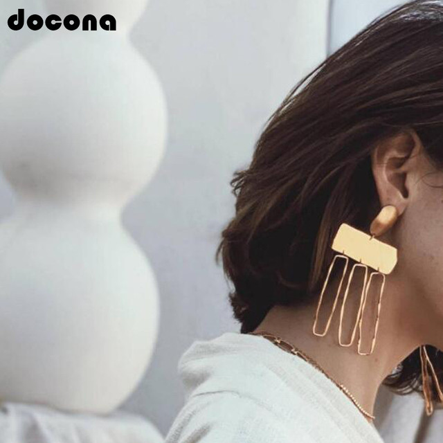 Docona Exaggerated Large Square Geometric Hollow Large Gold Pendant Drop Earring For Women Punk Big  Party Jewelry Gift B05401