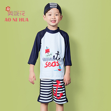 AONIHUA 2-12 years 3pcs Print anchor Striped Swimsuit for Boys kids 2017 Children baby Long sleeve swimwear Designer Brand stylish short sleeve anchor print color block sun resistant swimsuit for boys