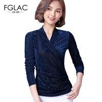 FGLAC 5XL Frauen bluse hemd Neuheiten 2018 Frühjahr langärmelige V-ausschnitt Velour tops Plus größe frauen kleidung