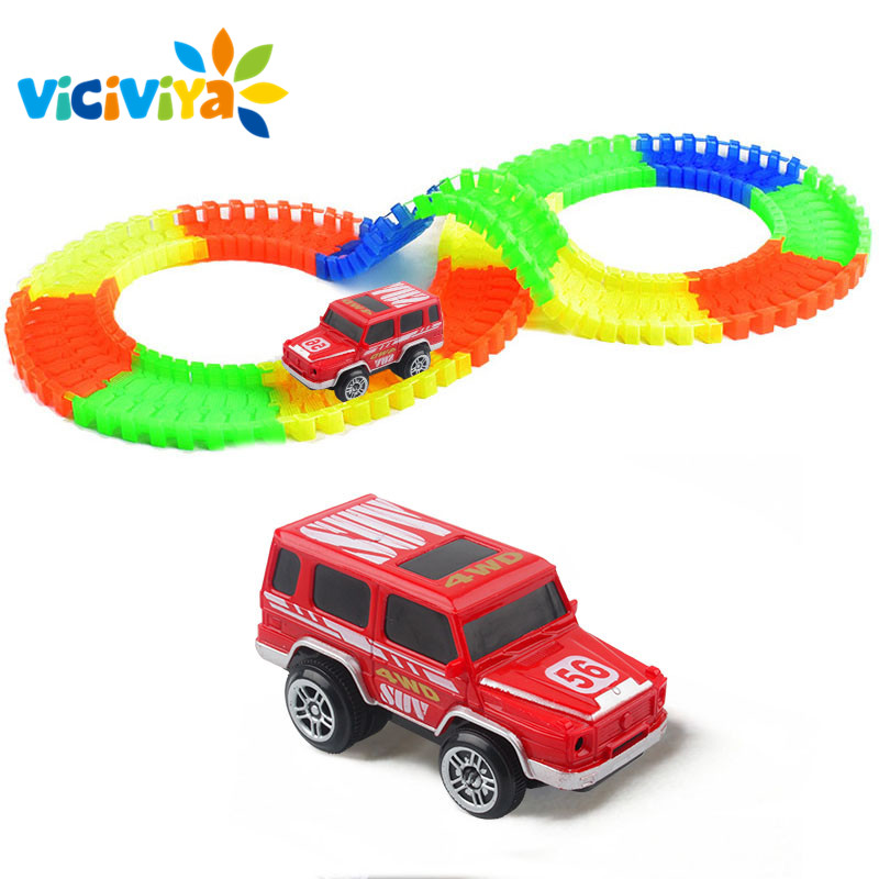 VICIVIYA Glowing Race Track Set DIY Miracle Racing Car In Dark Glow Track Led Car 44/100/165/220/240PCS Rail Car Kids Toys Gifts