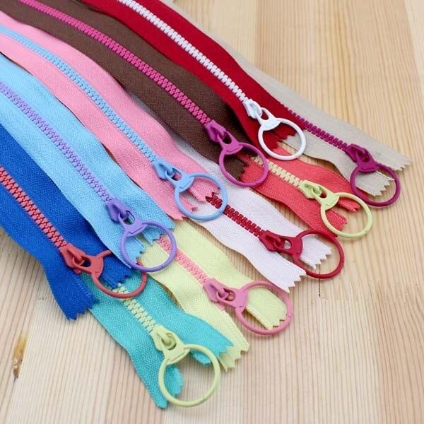 2015 New! Bright color 30cm 3# Resin contrast color zipper fashion pull ring zipper head DIY handwork Bag Close-End 10Pcs/lot
