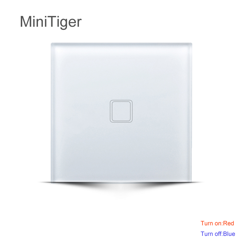 MiniTiger EU Standard touch Switch, Wall Switch, Crystal Glass Panel, 1/2/3 Gang 1 Way smart touch switch smart home uk standard crystal glass panel wireless remote control 1 gang 1 way wall touch switch screen light switch ac 220v
