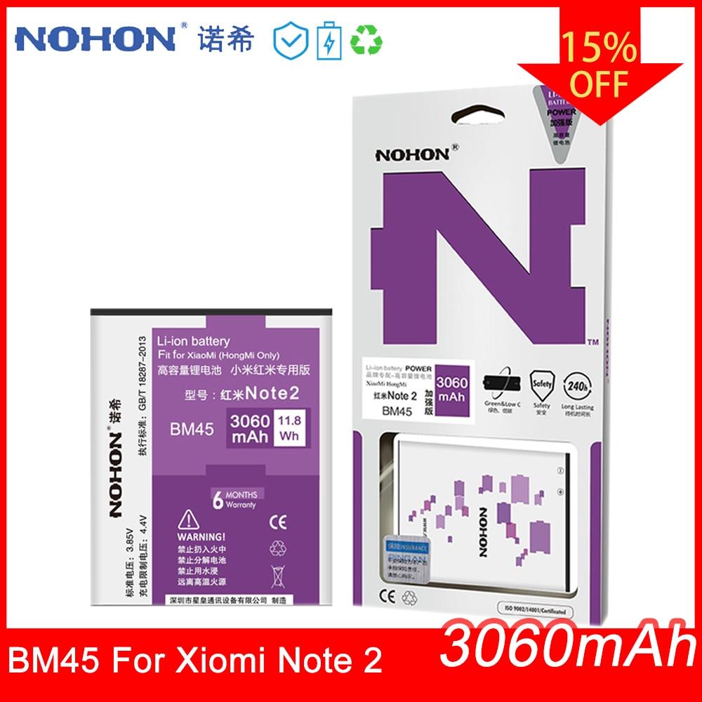 2 BM45 NOHON Bateria Original Para Xiaomi Redmi Nota Alta Capacidade 3060mAh Substituição de Baterias de Telefone Móvel Ferramentas Gratuitas