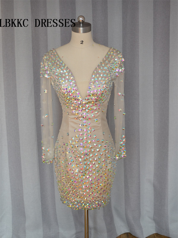 Champagne   Cocktail     Dresses   Long Sleeves Pro, Gown With Beaded Knee Length Robe De   Cocktail