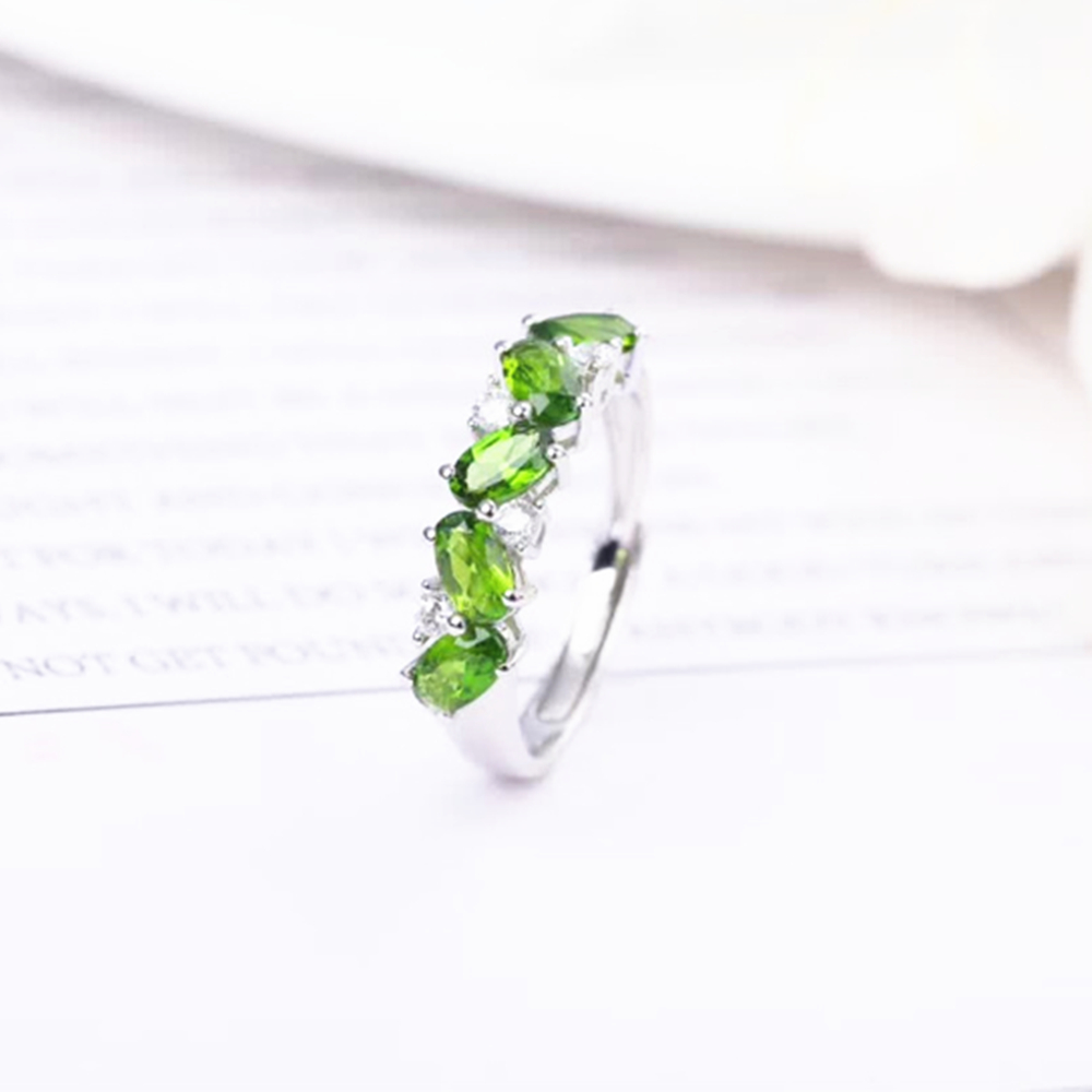 new-designed fashionable 925 sterling silver natural green peridot gemstone adjustable ring for women party gift