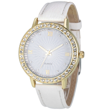 2016 Повседневная Женщины Часы Мода Montre женские Кристалл Алмаза Часы Аналоговый Кожа Кварцевые Наручные Часы Женщины Платье Relogio