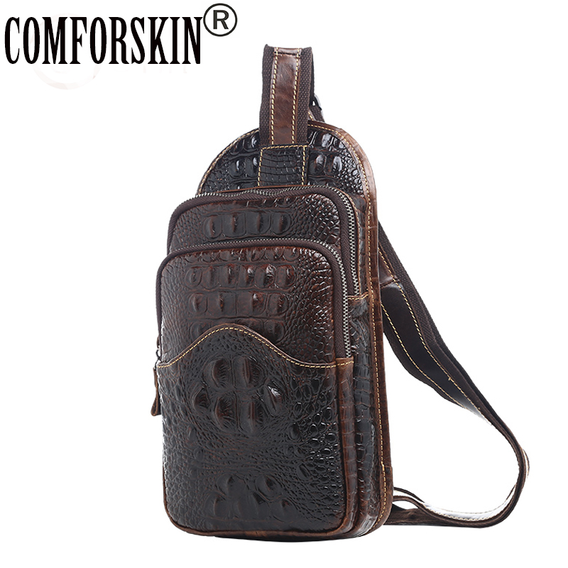 COMFORSKIN Double Compartments Zipper Large Capacity Men Messenger Bags 100% Cow Leather Alligator Men Chest Bags Cross-body Bag