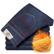Mens Winter Thicken Stretch Denim Jeans Warm Fleece Jean Pants Trousers Size 32 33 34 35 36 38 40 42