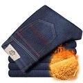 Mens Inverno Engrossar Jeans Stretch Denim Jean Calças Calças de Lã Quente Tamanho 32 33 34 35 36 38 40 42