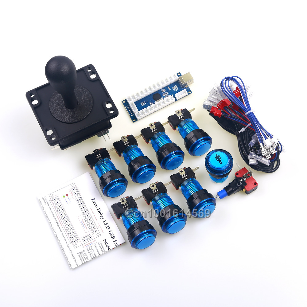 New Arcade LED DIY Kits Bundles LED Lamp 8 x Arcade Buttons & 8 Way HAPP Joystick & Zero Delay PC USB Encoder Board MAME Games