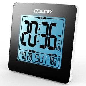 Image 1 - BALDR ميزان الحرارة الرقمي غفوة ساعة تنبيه الأزرق الخلفية LCD الجدول التقويم ساعة الوقت مكتب داخلي درجة الحرارة جهاز قياس الاستشعار