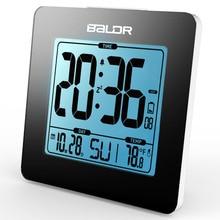BALDR Thermometer Digital Snooze Alarm Clock Blue Backlight LCD Table Calendar Time Watch Desk  Indoor Temperature Sensor Meter