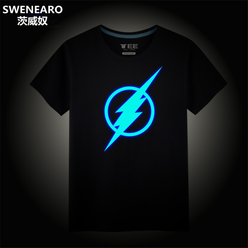 SWENEARO Flash Light Design Funny T Shirts Mens Sportswear Brand 2018 Summer Men's T Shirt The Big Bang Theory The Flash Shirt
