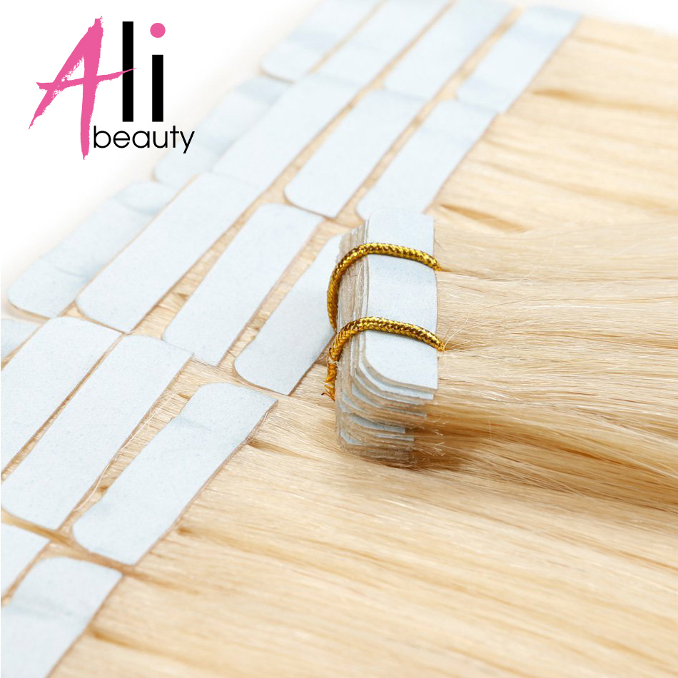 ALI BEAUTY Machine Remy Brazilian Straight Hair On Adhesives Invisible Tape PU Skin Weft 613 50G