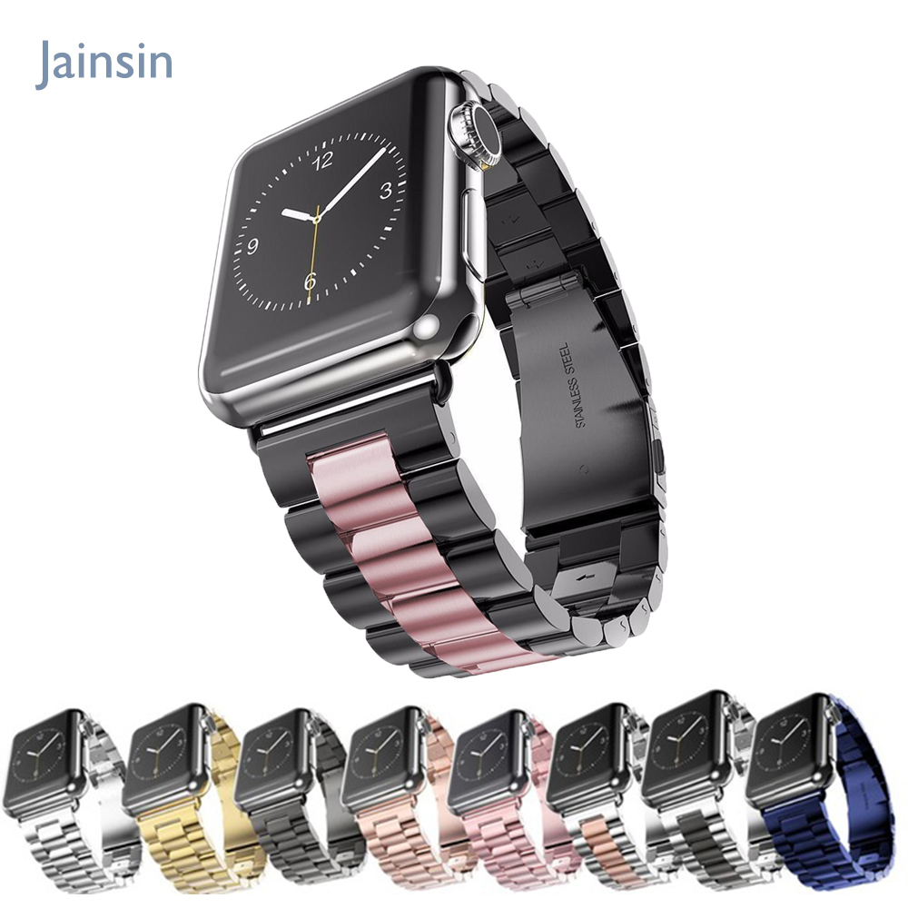 jansin strap band for apple watch 3 42mm 38mm for iwatch 3 2 1 Stainless Steel wrist watch band link bracelet Watchband strap baseus tpu strap watch band back cover for apple watch iwatch 38mm