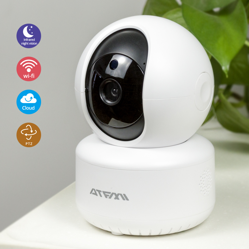 ATFMI HD720P Cloud Wireless IP Camera Night Vision Two Way Audio Home Security CCTV Network Wifi Camera Baby Monitor ICsee Onvif