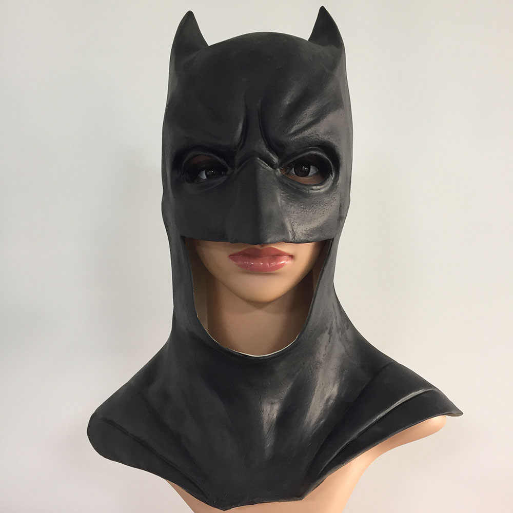 The Dark Knight Superhero Batman Wayne Pesta Cosplay Masker Pria Hitam Lateks Helm Overhead Batman Bola Kostum Alat Peraga